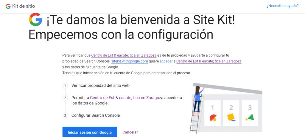 configuración del plugin de Google Site Kit: paso 1