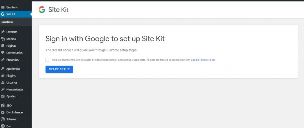 pluging Site Kit by Google en el escritorio de WordPress