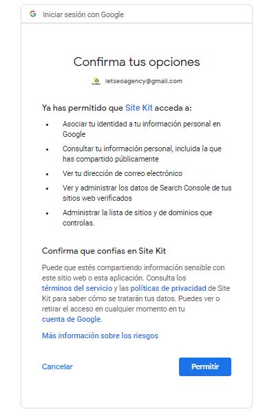 Configuración del plugin Site Kit by Google: paso 2