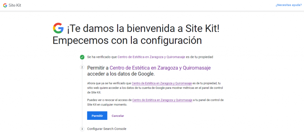 Configuración del plugin de Google Kit para WordPress: paso 3