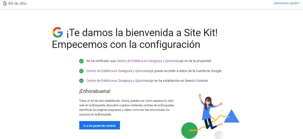 Configuración del plugin Site Kit by Google: paso 4
