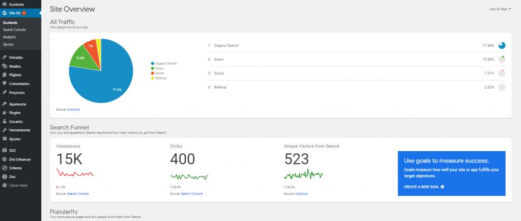 Escritorio del plugin Site Kit by Google