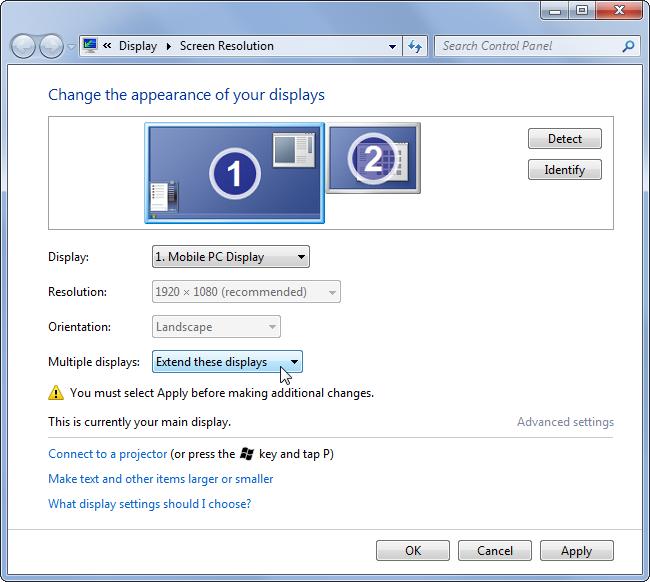 trabajar con dos pantallas windows 7
